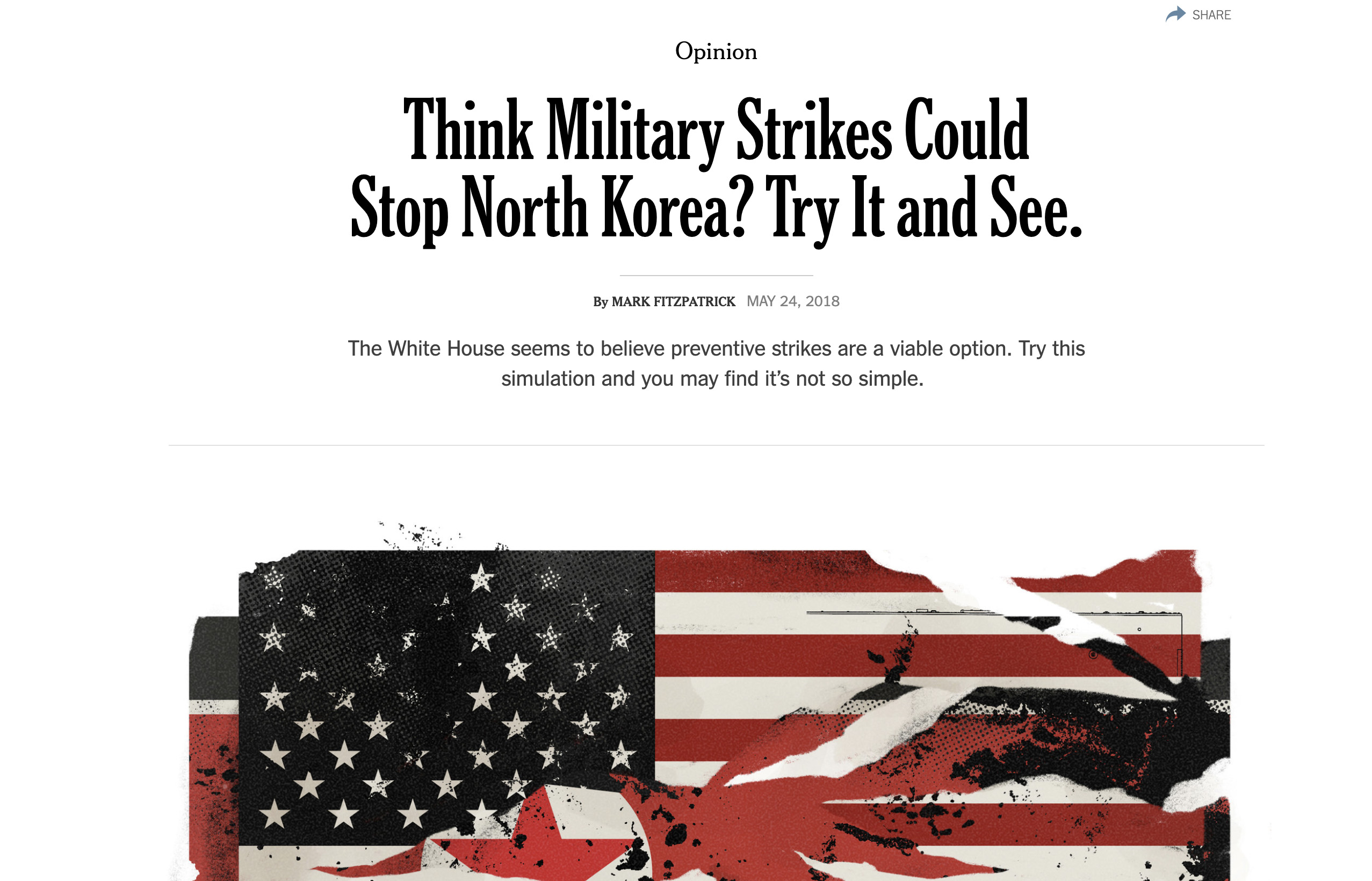 Play and see the potential outcomes of military strike on North Korea