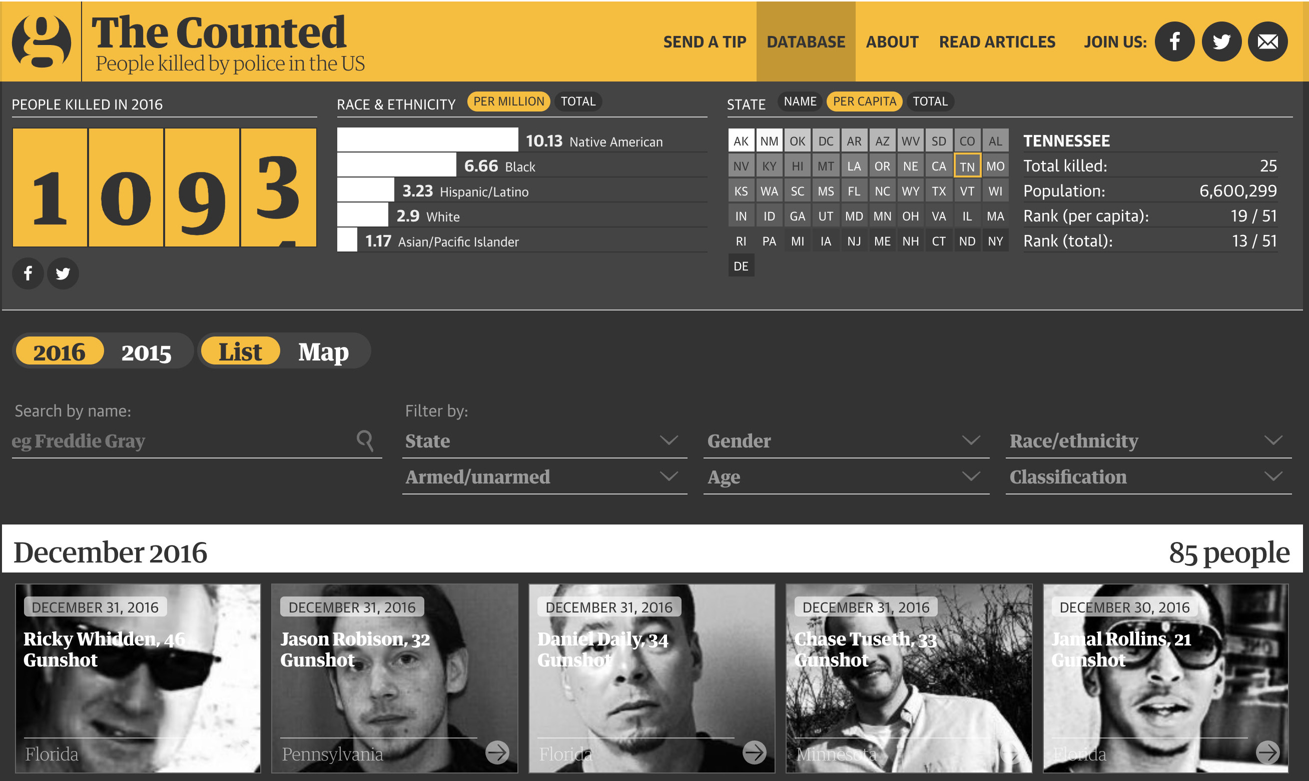 Explore interactive map and learn more about the complexity of police brutality
